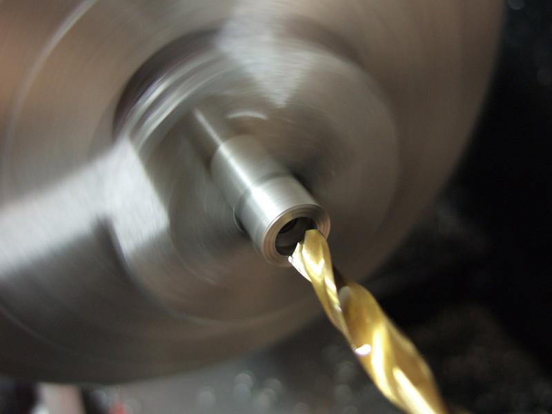 Drilling the final diameter (4.2mm).