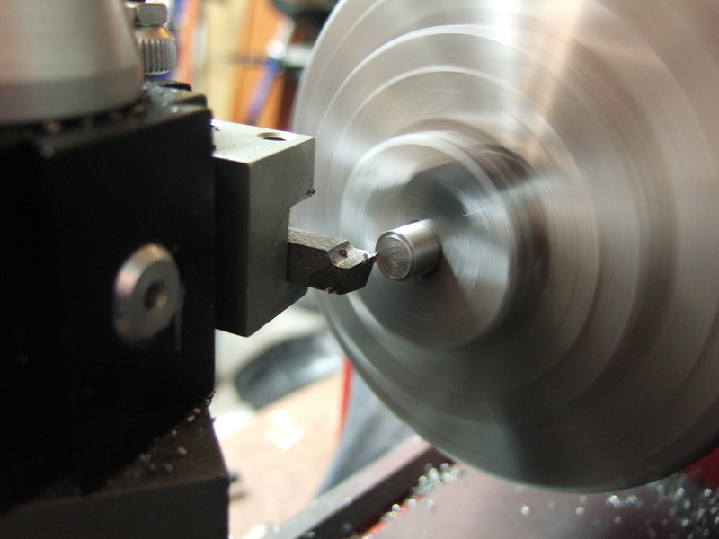 Facing the cut on the lathe.