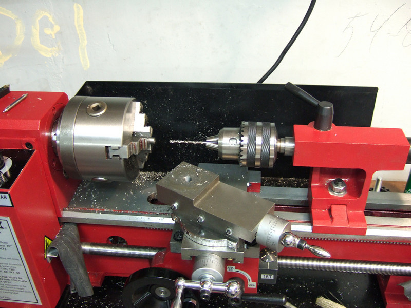 In this shot you can see the tailstock and drill chuck.