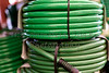 Garden Hoses Coiled and Stacked
