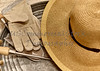 Gardening Attire with Trowel and Straw Sun Hat