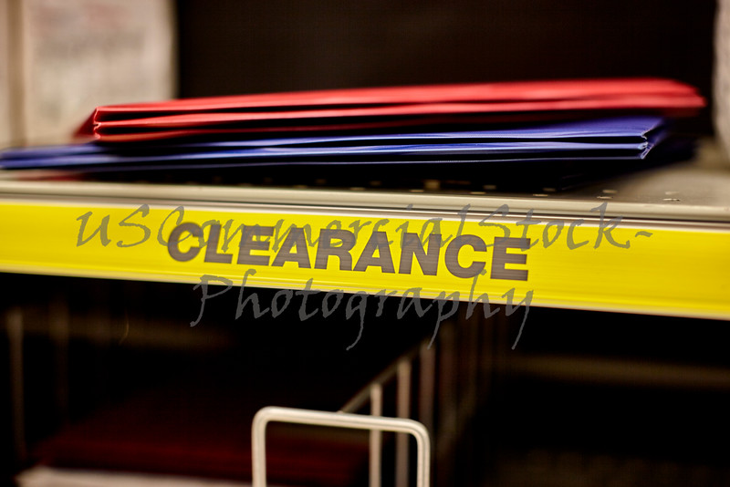 Folders on a Clearance Shelf in a Retail Store