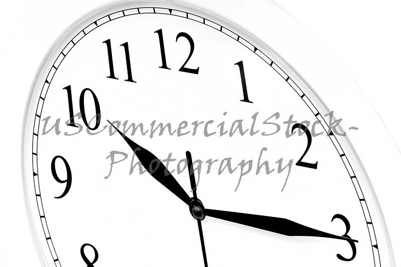 Close up of half a clock face