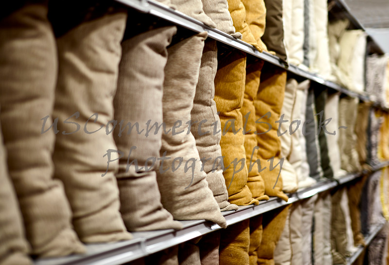 Decorative Pillows on a  Store Shelf