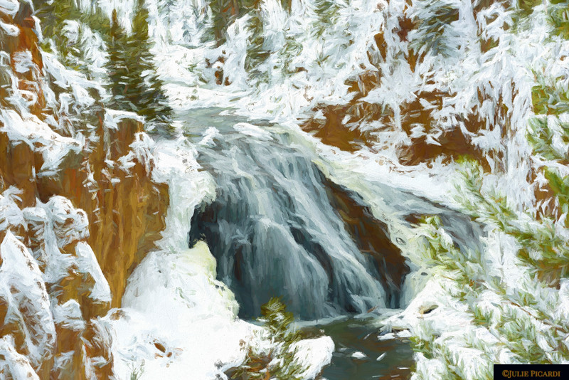 Artistic rendition of Gibbons Waterfall in Yellowstone during winter.