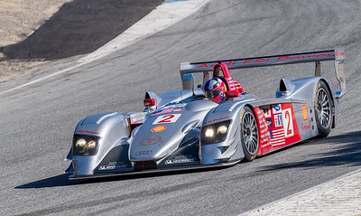 Audi R8 LMP driven by Travis Engen exiting the Corkscrew