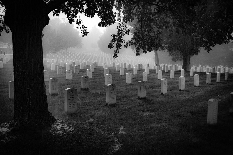Arlington Cemetery Rain BW August 2017