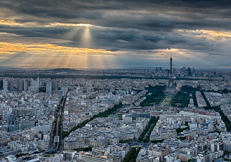 Looking down at the Eiffel Tower At Sunset