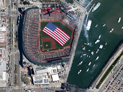 SF Giants Home Opener      Coast Guard Flyover