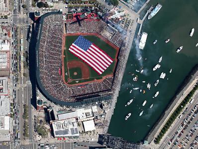 SF Giants Home Opener      Coast Guard Flyover