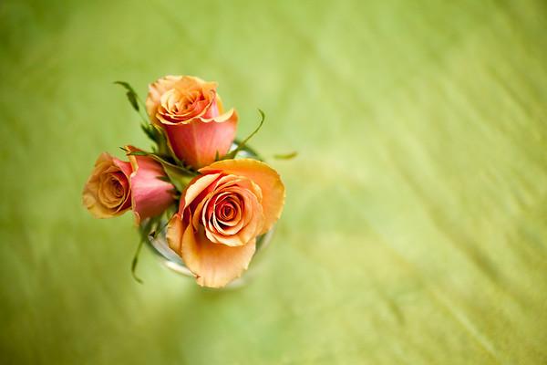 Three roses in a Simon Pearce vase.