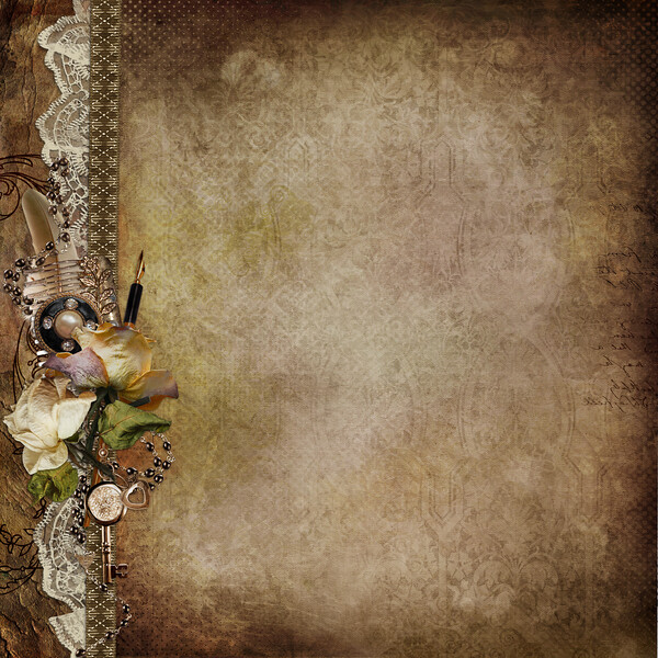 Vintage shabby background with faded roses and retro décor