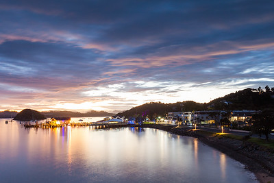 Township of Paihia and Veronica Channel at sunrise, Northland