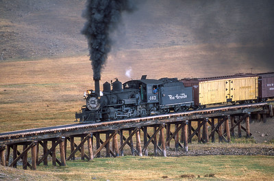 # 463, the Mud Hen, crosses a trestle on the Cumbres & Toltec Scenic Railroad. 2004
