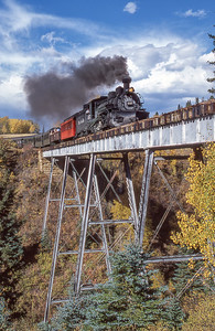 #497 crosses Labato Bridge on Cumbres & Toltec Scenic Railroad