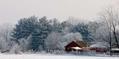 Farm with Frozen Fog