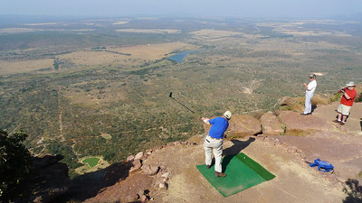 Williamghoat tees off on hole 19, the world's longest Par 3 (400m down and 300m out) at Legend's Golf & Safari Club South Africa.    2012