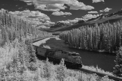 Westbound unit potash train at Morant's Curve, Banff National Park, Alberta Canada         2007         Near Infrared Canon 20D