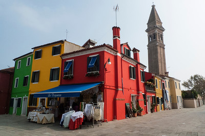 Colorful homes in Burano, one of the islands north of Venice, Italy.  2012