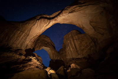 Light Painting Double Arch in Arches NP