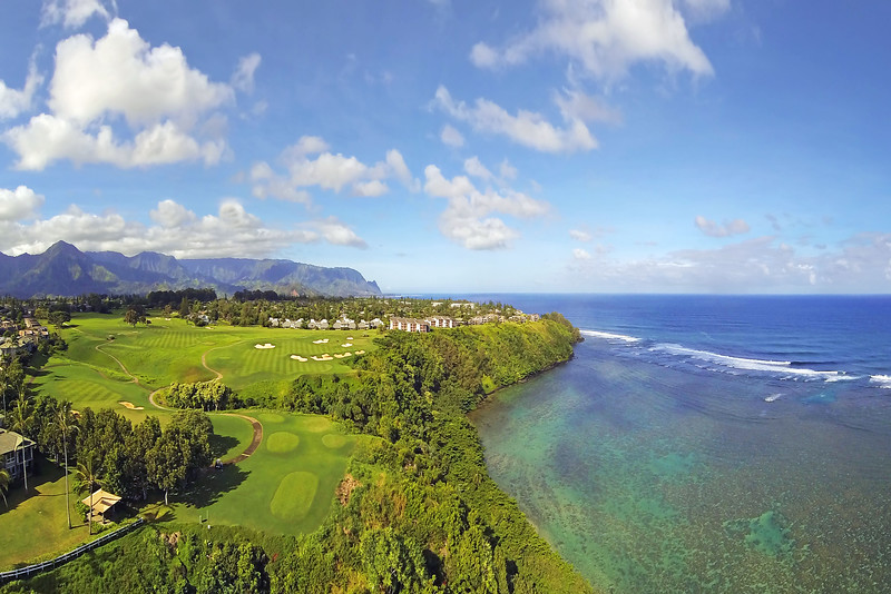 Drone Cam Hawaii - Hole #14 - Makai Golf Club at Princeville - Kaua'i - Hawaii