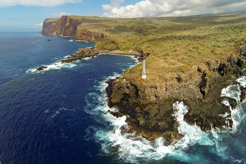 Drone Cam Hawaii - Kaunolu Village Site -  Island of Lana'i, Hawaii