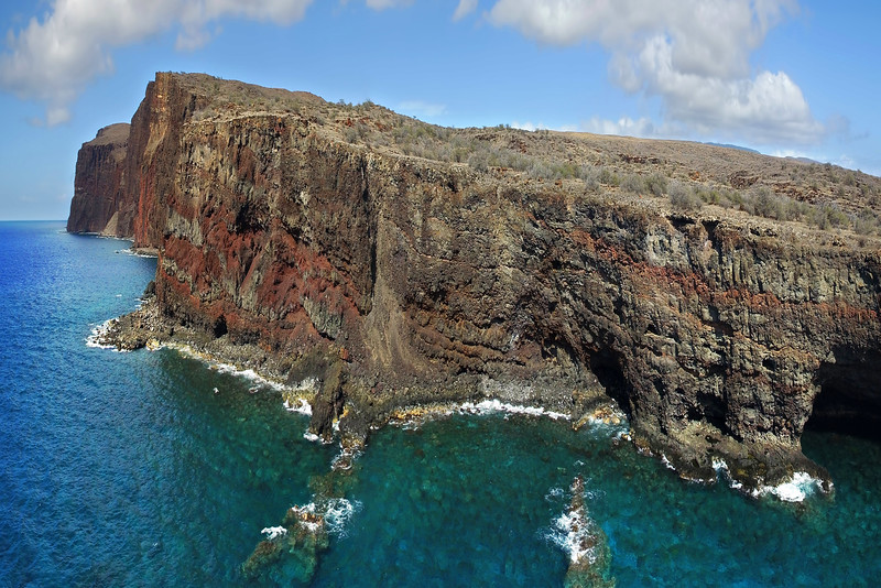 Sea Cliffs Near Kaunolu Village Site - Island of Lana'i - Hawaii