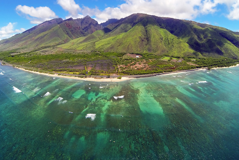 Drone Cam Hawaii - Ukumehame Beach - Island of Maui, Hawaii