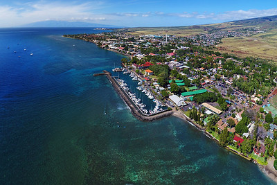 "Drone Aerial Prints & More - ""Lahaina Town & Moloka'i"" - Island of Maui, Hawaii"