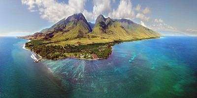 "Drone Aerial Prints & More - ""Maui Reef Pano"" - Island of Maui, Hawaii"