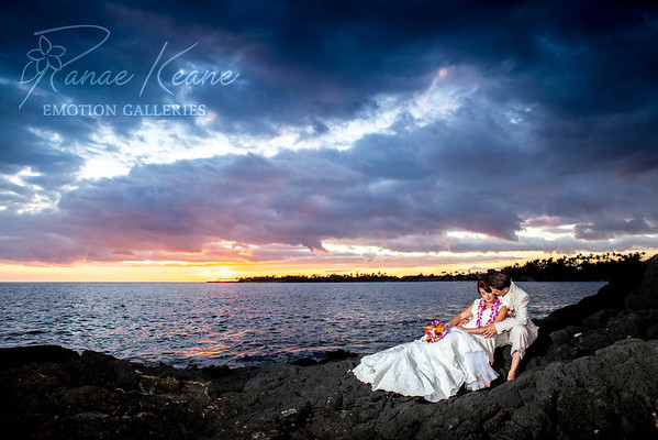 Lava field bride and groom at sunset