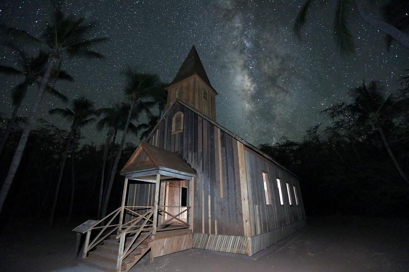 Keomoku Church and Milky Way - Lana'i, Hawaii