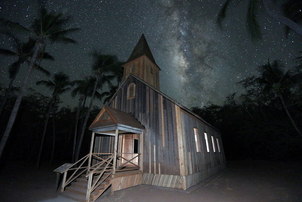 Keomoku Church and Milky Way - Lana'i, Hawaii