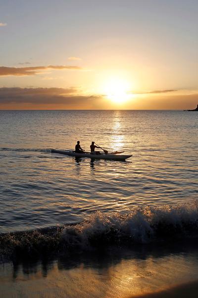 Outrigger Canoe at Sunset - Hulopo'e Beach - Lana'i, Hawaii