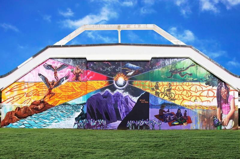 Mural at Lana'i High & Elementary School - Island of Lana'i, Hawaii