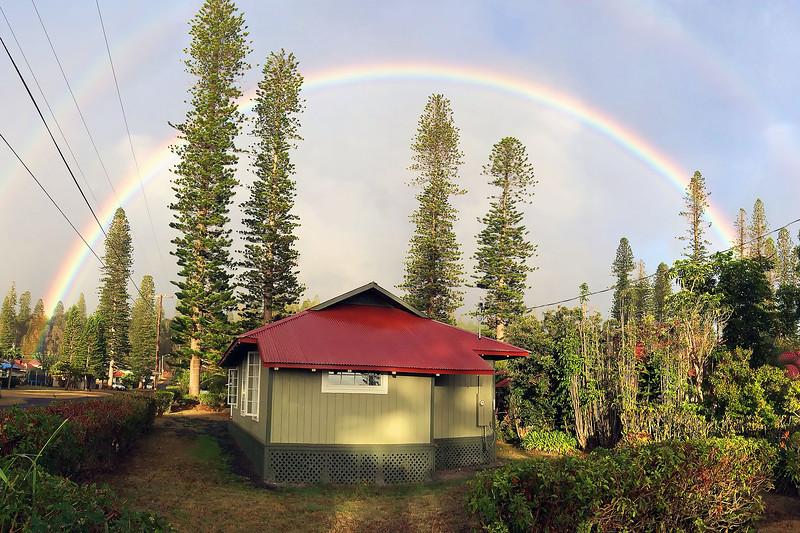 Rainbow Over House in Lana'i City - Island of Lana'i, Hawaii