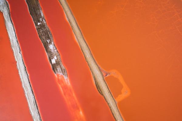 Aerial view of Swakopmund salt pan abstract, Namibia