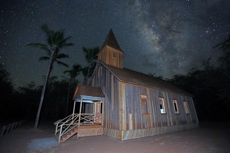 Milky Way and Keomoku Church - Island of Lana'i, Hawaii