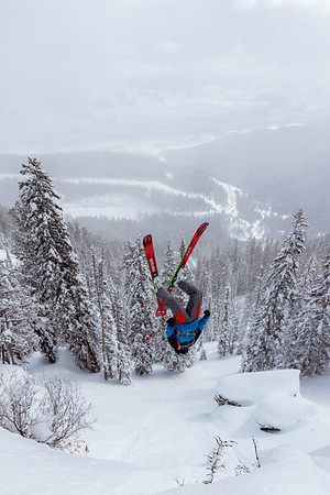 Riis Wilbrecht laying out a backflip on Teton Pass.