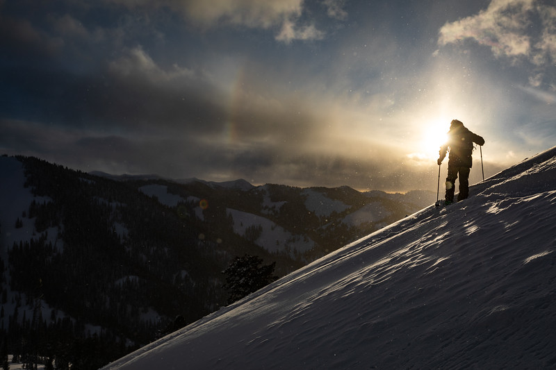 Matt Sterbenz skiing down Mt. Glory at sunset. Checkerspot Road Trip.