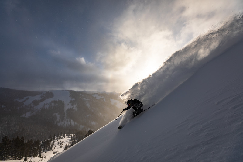 Dan skiing down Mt. Glory at sunset. Checkerspot Road Trip.