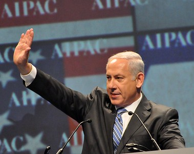 Prime Minister of Israel speaks and waves to the crowd of 13,000 people at the American Israel Public Affairs Committee Policy Conference in 2012