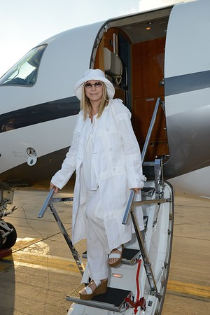 Barbra Streisand lands in Tel Aviv, Israel for an 8-day trip in July 2013.
