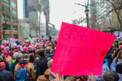 Photos from the Women's March in New York City on January 21, 2017.