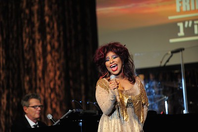 Singer Chaka Khan performs at the Friends of the IDF Los Angeles Gala while accompanied by David Foster on piano - 2012