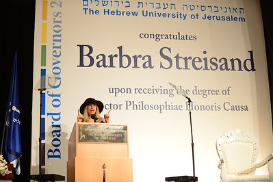 Barbra Streisand receives her honorary doctorate degree from The Hebrew University in Jerusalem, Israel. July, 2013