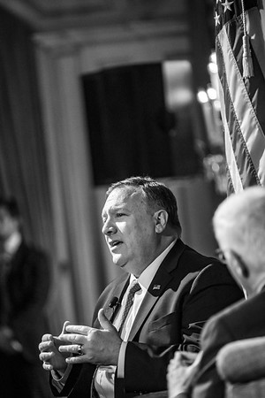 United States Secretary of State Mike Pompeo during a Q&A in New York- 2019