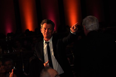 David Foster points to his good friend Haim Saban at an event in Los Angeles, CA.