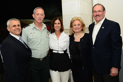 "(L-R) FIDF National Director Yitzhak ""Jerry"" Gershon, IDF Chief of the General Staff Lt. Gen. Benjamin ""Benny"" Gantz and his wife, Nili Falic and FIDF President Julian Josephson in Israel.  2012"