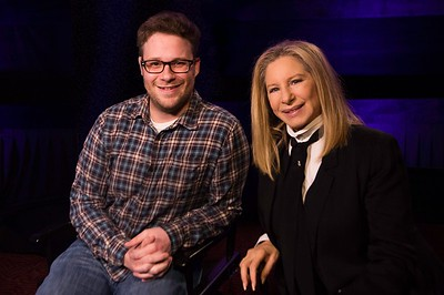 (L-R) Actor Seth Rogan and Actress and Singer Barbra Streisand post for a photo at the Press Conference of their movie, 'The Guilt Trip' - November 2012